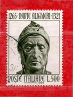 Italia °- 1965 - DANTE ALIGHIERI.  Unif. 1007.  Usato. - 1961-70: Oblitérés