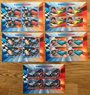 BURUNDI 2012 - NEUF**/MNH - Série Complète Mi 2908 / 2912 - NON DENTELE IMPERF - LUXE - NASCAR  AUTOMOBILE - 2010-..: Ongebruikt