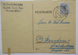 Kontrollrat Bedarfskarte Öhringen 1947 Buchhandlung Rau (71927) - American,British And Russian Zone