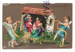 2 Anges Transportent Une Crèche. Ruban Et Branches De Sapin. Glacée. - Anges