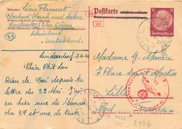CARTE DE CORRESPONDANCE DE LENDERSDORF DUREN SOLDAT FLAMENT 06/1944 TIMBRE DEUTSCHES REICH - WW II