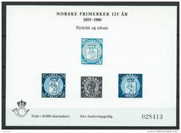 Norvège,  1980 Bloc Semi Officiel Neuf, Norske Frimerker MB 12 Tirage 50000 - Blocs-feuillets