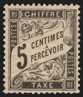 Timbres-Taxe Duval N°14, 5c Noir, Neuf * Avec Charnière - TB - 1859-1955.. Ungebraucht