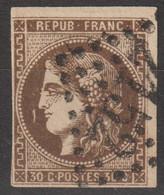 N°47, 30c Brun Oblitéré GC 2152 - 1870 Ausgabe Bordeaux