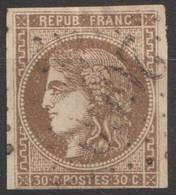 N°47, 30c Brun Oblitéré GC 2660 - 1870 Ausgabe Bordeaux