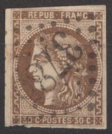 N°47, 30c Brun Oblitéré GC 3785 - 1870 Ausgabe Bordeaux