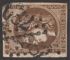 N°47, 30c Brun Oblitéré GC 682 - 1870 Ausgabe Bordeaux