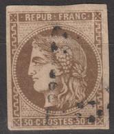 N°47, 30c Brun Oblitéré - 1870 Ausgabe Bordeaux