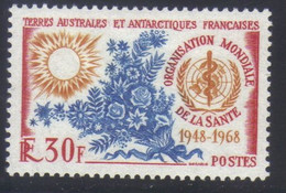 T.A.A.F Timbre 20e Anniversaire De L' Organisation Mondiale De La Santé     30 F. Rouge Jaune Et Bleu  N° 26** Neuf - Nuovi