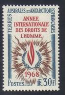 T.A.A.F Timbre Année Internationale Des Droits De L' Homme     30 F. Bleu Sépia Et Rouge  N° 27** Neuf - Nuovi