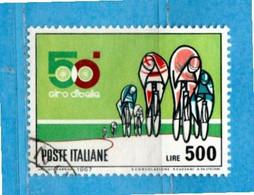 ITALIA° - 1967 - Unif. 1047  Lire 500 - 50° Giro Ciclistico D'Italia . Usato - 1961-70: Oblitérés