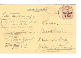 REF4127/ TP Oc 13 S/CP Publicitaire Doffiny-Remy Fabrique De Bonneterie C. Charleroi 1917 + Censure > Woluwé St Lambert - [OC1/25] Gen. Gouv.