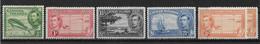 Kaimaninseln 1938 Mi.-Nr. 101, 103,104, 106, 108 */MH - Caimán (Islas)