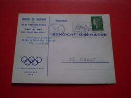 Carte Commerciale Maison Du Dauphiné à Paris, Anneaux Jeux Olympiques Grenoble 1968; Flamme Epargne Logement De La CNE - Non Classés