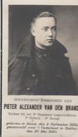 ABL, Pieter Alexander Van Den Brande , Geboren Te Boom 8 November 1919 Gesneuveld Voor 't Vaterland Eekloo Den 20 Mei 40 - Obituary Notices