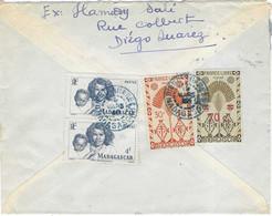 1948 / Lettre Avion De Diego-Suarez (beau Cachet Bleu Intérieur Pointillé) Madagascar / Timbre France Libre (surchargé) - Airmail