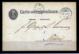"HELVETIA - C.P. - Stempel ""SURSEE""  → ""NOTTWIL""  Dd. 19-05-1878 - (ref. 26) - Enteros Postales"