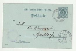 """Wuerttemberg - 1906 - Dienstpostkarte Ex """"Mittelfischach"""" Nach Gaildorf (2616) - Wurtemberg"""