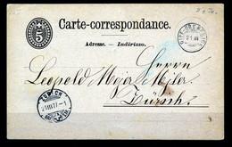 """HELVETIA - C.P. - Stempel """"GIPF-OBERFRICK""""  → """"ZURICH""""  Dd. 21-III -1877 - (ref. 27) - Enteros Postales"""