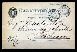 "HELVETIA - C.P. - Stempel ""KLOSTERS-PLATZ""  → ""POSCHIAVO""  Dd. 27-I-1876 - (ref. 28) - Enteros Postales"