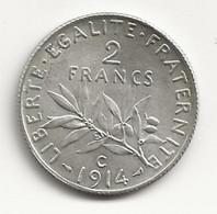 2 Francs - 1914 C - Semeuse - Argent - TB/TTB - I. 2 Francs
