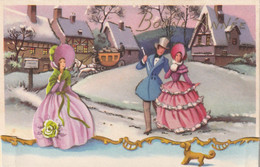 1020- CARTE BONNE ANNEE . DECOUPIS FEMMES HOMME CHIEN MAISONS DILIGENCE IDA 702 SCAN - Neujahr