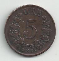 NORVEGE - 5 Ore - 1875 - TB/TTB - RARE - Norvège