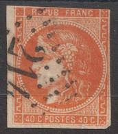 N°48, 40c Orange Oblitéré GC 214 - 1870 Ausgabe Bordeaux