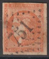 N°48, 40c Orange Oblitéré GC 751 - 1870 Ausgabe Bordeaux