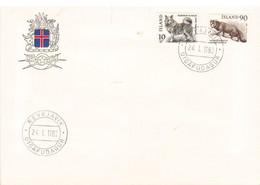 Iceland Island 1980 Native Animals, Icelandic Dog (Canis Familiaris), Arctic Fox (Alopex Lagopus)Icel MI 550-551 FDC - Lettres & Documents