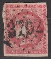 N°49, 80c Rouge Oblitéré GC 3702 - 1870 Ausgabe Bordeaux
