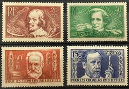 YT 330 à 333 (*) MH 1936 Chômeurs Intellectuels Callot Berlioz Hugo Pasteur (34 Euros) France – Gelu - Ongebruikt
