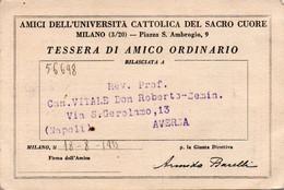 Tessera - AMICI UNIVERSITA DEL SACRO CUORE - MILANO 1933 - Ohne Zuordnung