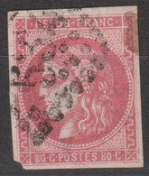 N°49, 80c Rouge Oblitéré GC 532 - 1870 Bordeaux Printing