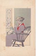 1572/ Getekende Kaart, Dame Met Poes, Perry - Other Illustrators