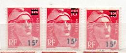 FRANCE N° 968 15F S 15F ROUGE TYPE MARIANNE DE GANDON 3 POSITIONS DE SURCHARGE NEUF SANS CHARNIERE - Curiosities: 1950-59 Mint/hinged