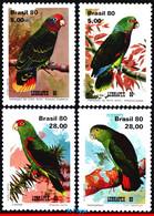 Ref. BR-1715-18 BRAZIL 1980 BIRDS, PARROTS, LUBRAPEX 80, PHILATELIC EXHIBITION, SET MNH 4V Sc# 1715-1718 - Parrots