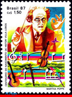 Ref. BR-2095 BRAZIL 1987 FAMOUS PEOPLE, HEITOR VILLA LOBOS,, CONDUCTOR, COMPOSER, MUSIC, MNH 1V Sc# 2095 - Unused Stamps