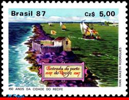 Ref. BR-2115 BRAZIL 1987 SHIPS, BOATS, SPANISH GALLEONS ANCHORED, IN RECIFE PORT, HISTORY, MNH 1V Sc# 2115 - Nuevos