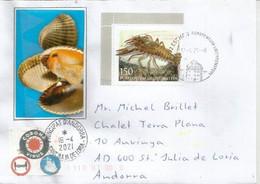Faune En Danger. Europa CEPT 2021: Écrevisse à Pattes Rouges (European Crayfish) Lettre Adressée ANDORRA - Covers & Documents