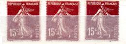 FRANCE N° 189 15 C BRUN LILAS TYPE SEMEUSE 3 NUANCES DE COULEURS NEUF SANS CHARNIERE - Curiosities: 1900-20 Mint/hinged