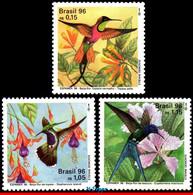 Ref. BR-2583-85 BRAZIL 1996 BIRDS, HUMMINGBIRDS AND FLOWERS,, MI# 2700-02, SET MNH 3V Sc# 2583-2585 - Hummingbirds