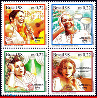 Ref. BR-2666A BRAZIL 1998 MUSIC, FAMOUS BRAZILIAN WOMEN,, SINGERS, UPAEP, MI# 2809-12, SET MNH 4V Sc# 2663-2666 - Mujeres Famosas