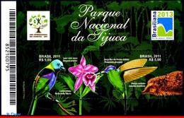 Ref. BR-3174 BRAZIL 2011 FAUNA AND FLORA, TIJUCA NATIONAL PARK,, BIRDS, FLOWERS, HUMMINGBIRD, S/S MNH 2V Sc# 3174 - Hummingbirds