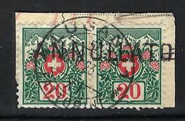 "SUISSE Taxe 1910: Fragment Avec Paire Du ZNR. 34 Obl. CAD ""Lugano"", Marque ""ANNULLATO"" (annulé) - Strafportzegels"