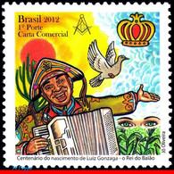 Ref. BR-3236 BRAZIL 2012 FAMOUS PEOPLE, LUIZ GONZAGA, SINGER,, BIRD, MUSIC, MASONRY, KING BAIAO, MNH 1V Sc# 3236 - Columbiformes