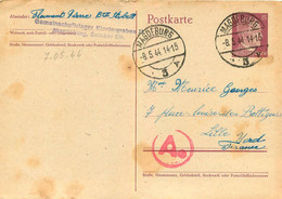 POSTKARTE   05/1944 ENVOYE DE MAGDEBURG PRISONNIER FLAMENT PIERRE   TIMBRE HITLER - WW II