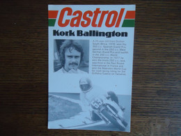 Carte Postale KORK BALLINGTON / Castrol - Yamaha ( +/- 1977 ) - Motorcycle Sport