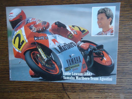 Carte Postale - Autocollant MARLBORO ( Sticker ) EDDIE LAWSON - YAMAHA + Autographe - Motorcycle Sport