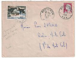 1963 - MONACO DECARIS 25c Sur LETTRE TAXÉE TAXE 50c (GUERRE POSTALE FRANCO-DOUANIERE) De BARGEMON VAR RADIO MONTE CARLO - Lettres Taxées